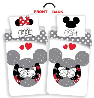 Obliečky Mickey a Minnie love grey 140/200, 70/90